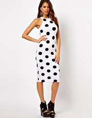 Motel Zena Midi Dress In Polka Dot