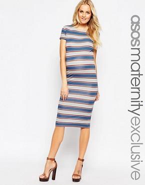 ASOS Maternity Midi Bodycon Dress in Varigated Stripe