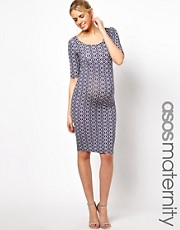 ASOS Maternity  Exklusives, figurbetontes Midikleid mit geometrischem Muster