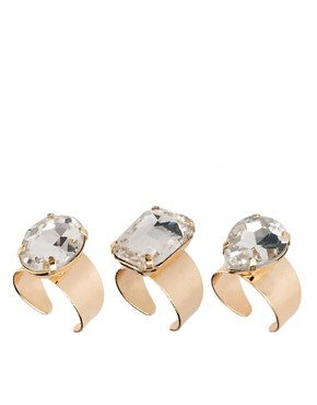 Image 1 ofASOS Pack of Three Jewelled Band Rings