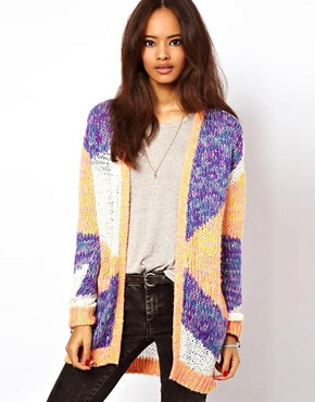 Image 1 ofASOS Edge To Edge Patterned Cardigan