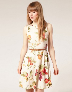 Image 1 ofPearl Fruit Print Belted Dress