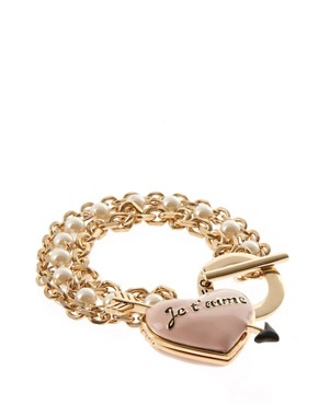 Image 1 ofWildfox Gold Je T&#39;aime T Bar Bracelet