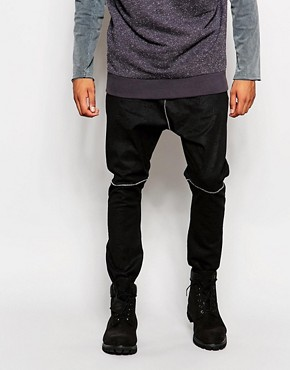 ASOS Drop Crotch Joggers In Faux Leather With Cracked Detail