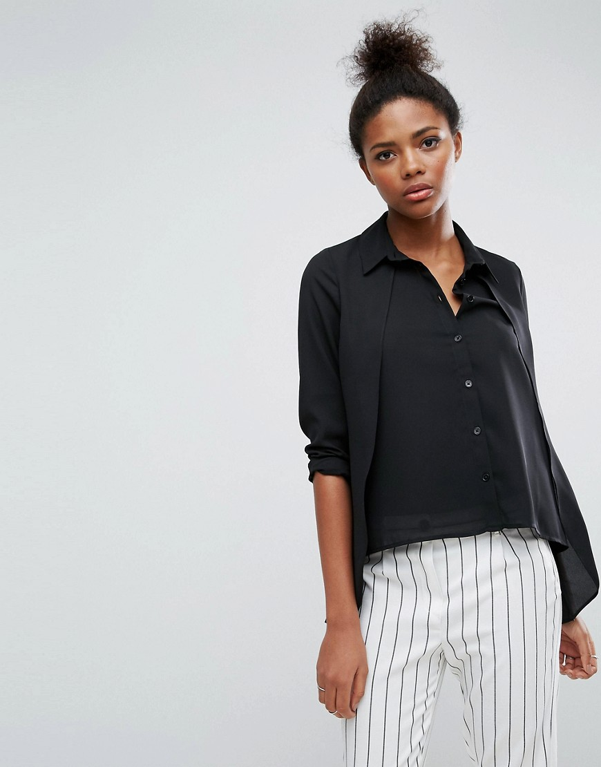 ASOS Blouse with Overlay & Dipped Hem - Black