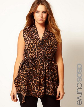 Image 1 ofASOS CURVE Exclusive Wrap Top In Animal Print