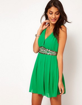 Image 1 ofTFNC Dress with Low Embellished V Neck