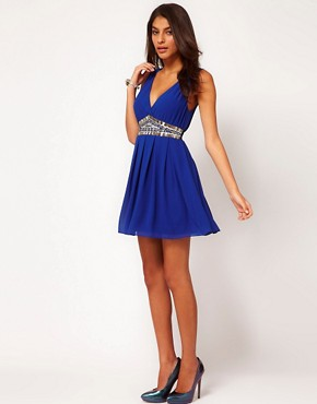 Image 4 ofTFNC Dress with Low Embellished V Neck