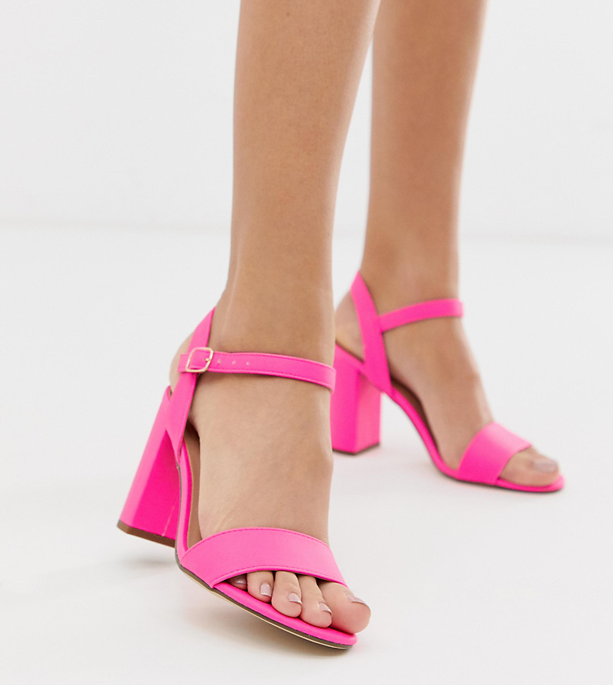 New Look - Sandales à talon carré - Rose fluo - Rose