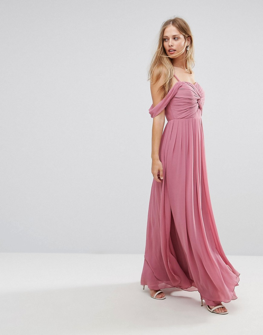 Y.A.S Cold Shoulder Maxi Dress - Mauve