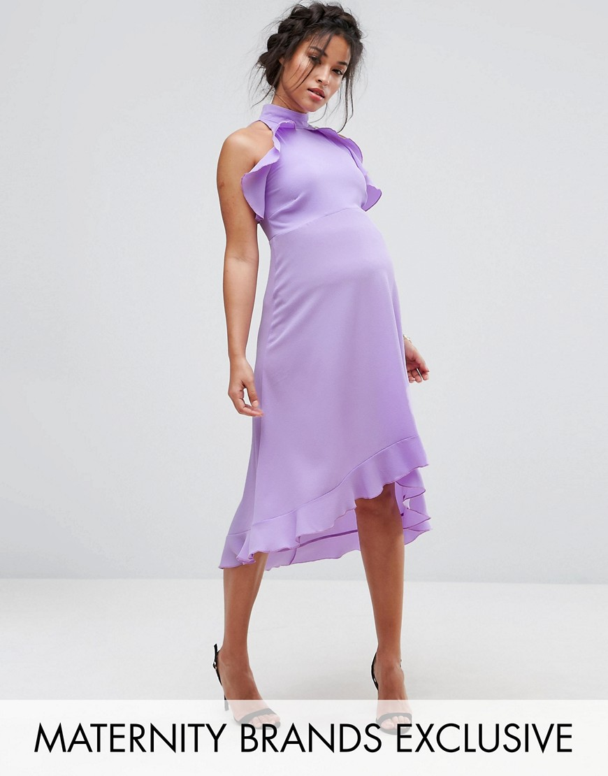 Queen Bee Wrap Ruffle Detail High Neck Midi Dress - Lavender