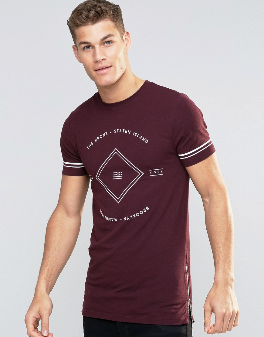 ASOS Muscle T-Shirt With Front Text Print In Oxblood - Red