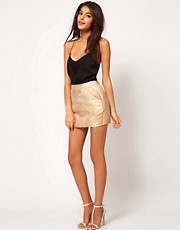 ASOS Mini Skirt in Gold Jacquard