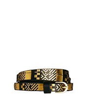 ASOS Metallic Aztec Metal Keeper Super Skinny Waist Belt