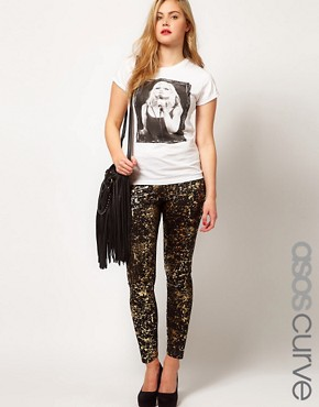 Image 1 ofASOS CURVE Legging With Metallic Paint Splatter