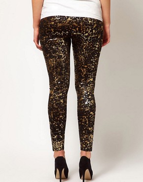 Image 2 ofASOS CURVE Legging With Metallic Paint Splatter