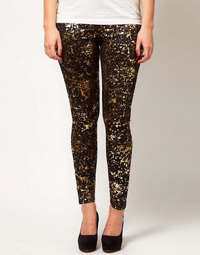 Image 4 ofASOS CURVE Legging With Metallic Paint Splatter