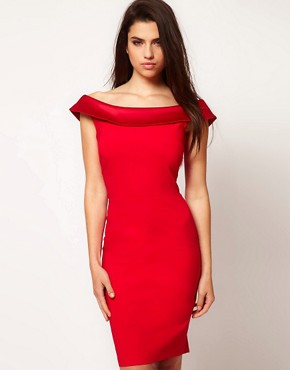 Image 1 ofHybrid Dress With Bardot Neckline