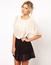 ASOS Top With Cape Detail And Lace Trim
