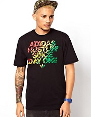 Adidas Originals T-Shirt with Rasta Hustlin&#39; Print