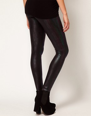 Image 2 ofASOS Maternity Leggings In Metallic Snake Print