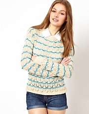A Wear Pointelle Stripe Sweater
