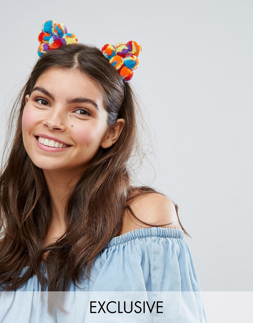 Monki Festival Pom Pom Ears Headband - Multi