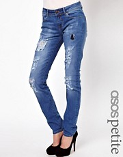 ASOS PETITE Elgin Supersoft Skinny Jeans in Distressed and Ripped Vintage Wash