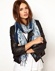 Warehouse Blue &amp; White Porcelain Print Scarf