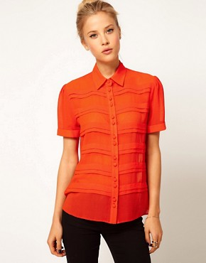 Image 1 ofASOS Blouse With Pintuck Front And Covered Buttons