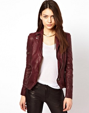 Image 1 ofMuubaa Sharp Shouldered Leather Biker Jacket with Zips