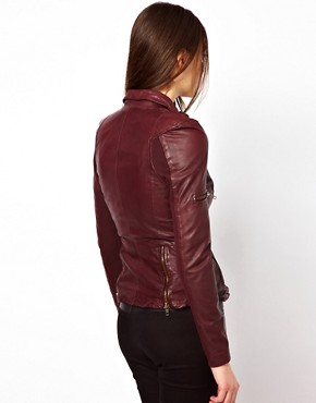 Image 2 ofMuubaa Sharp Shouldered Leather Biker Jacket with Zips