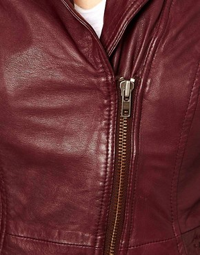Image 3 ofMuubaa Sharp Shouldered Leather Biker Jacket with Zips