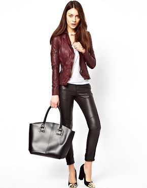 Image 4 ofMuubaa Sharp Shouldered Leather Biker Jacket with Zips