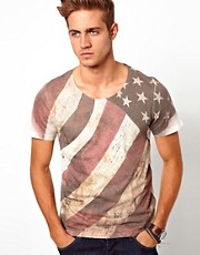 River Island - T-shirt con bandiera americana
