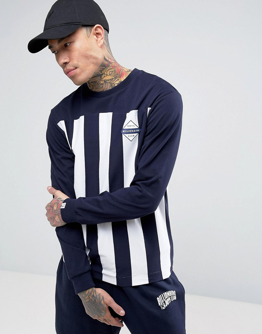 Billionaire Boys Club Long Sleeve T-Shirt With Stripes - Navy