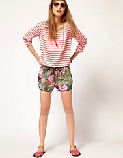 Maison Scotch Jungle Print Running Shorts