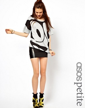 Image 1 ofASOS PETITE Exclusive Hologram Tube Mini Skirt