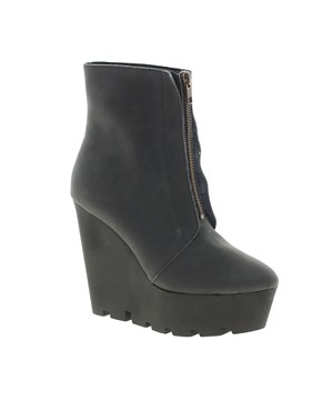 Image 1 ofCheap Monday Monolit Zip Front Wedge Ankle Boots