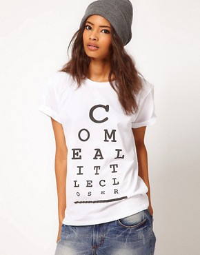 Image 1 ofASOS T-Shirt with &#39;Come a Little Closer&#39; Print