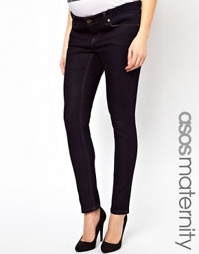 Image 1 ofASOS Maternity Elgin Indigo Skinny Jeans With Adjustable Waistband