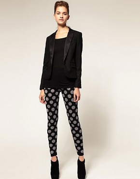 Image 1 ofASOS Knitted Leggings With Metallic Spot