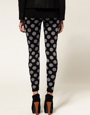 Image 2 ofASOS Knitted Leggings With Metallic Spot