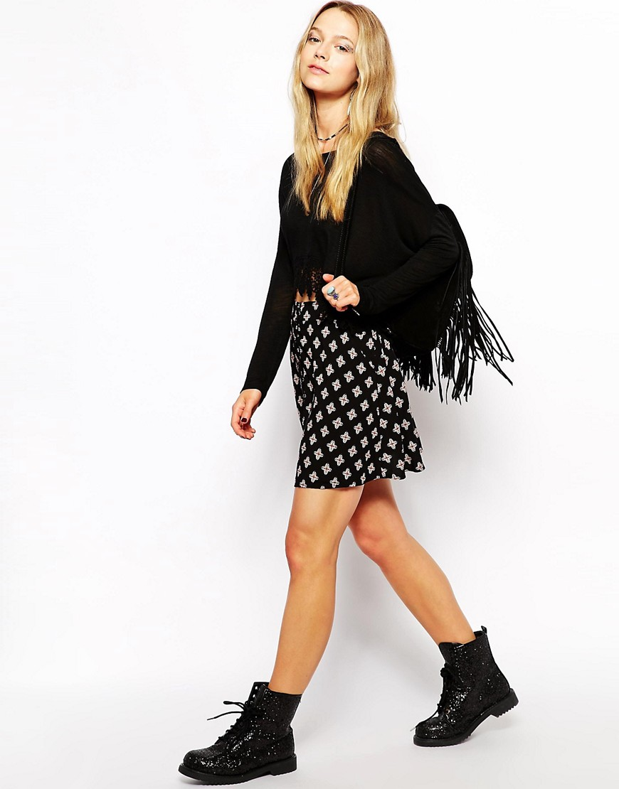 Kiss The Sky Button Down Skirt In Print - Multi