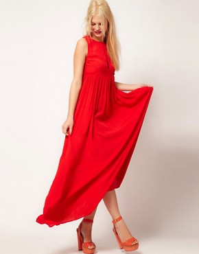 Image 4 ofASOS Sleeveless Pleated Maxi Dress