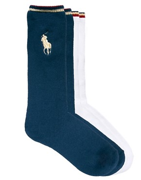Image 1 ofPolo Ralph Lauren 2-Pack Large Polo Player Socks