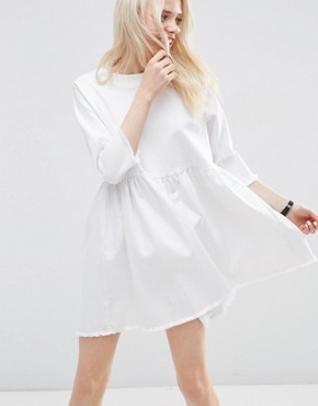 ASOS Denim Smock Dress in White with Raw Hem