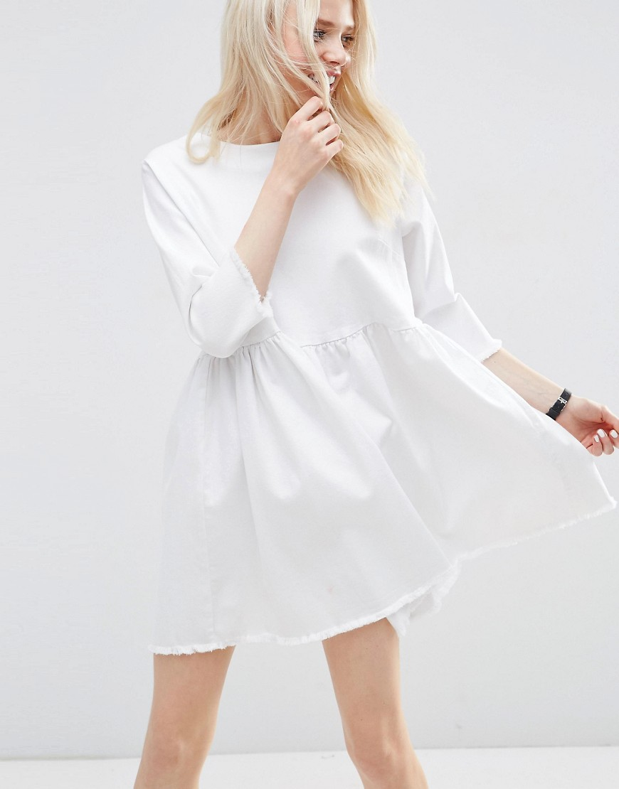 ASOS Denim Smock Dress in White with Raw Hem - White