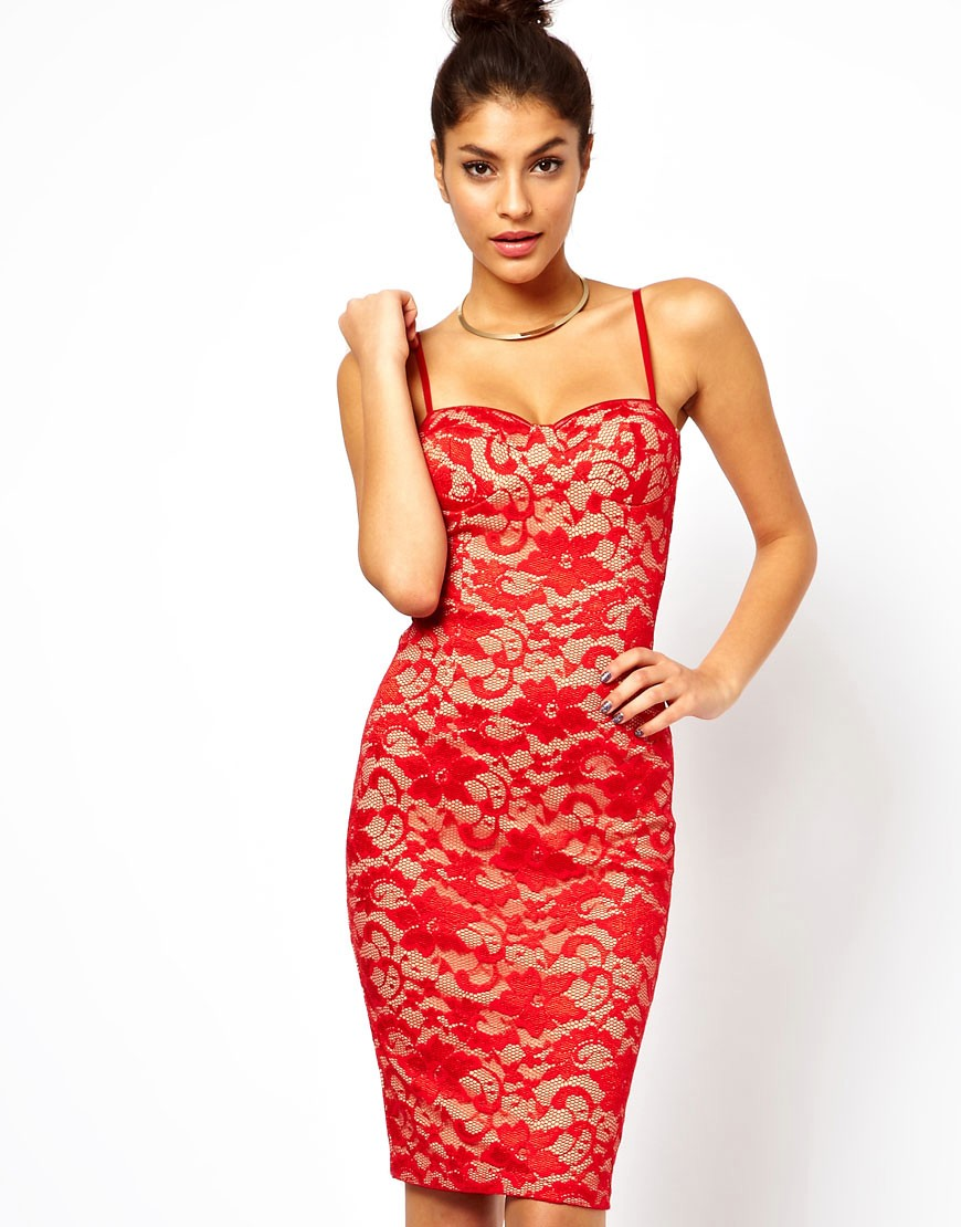 Image 1 of ASOS Sexy Lace Pencil Dress