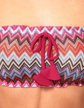 Image 3 of ASOS Zigzag Bandeau and Beach Short Set